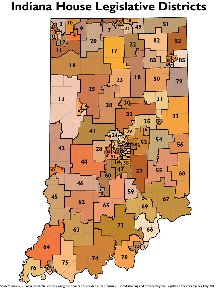 Legislative Redistricting Topic Page STATS Indiana - Map of state of indiana