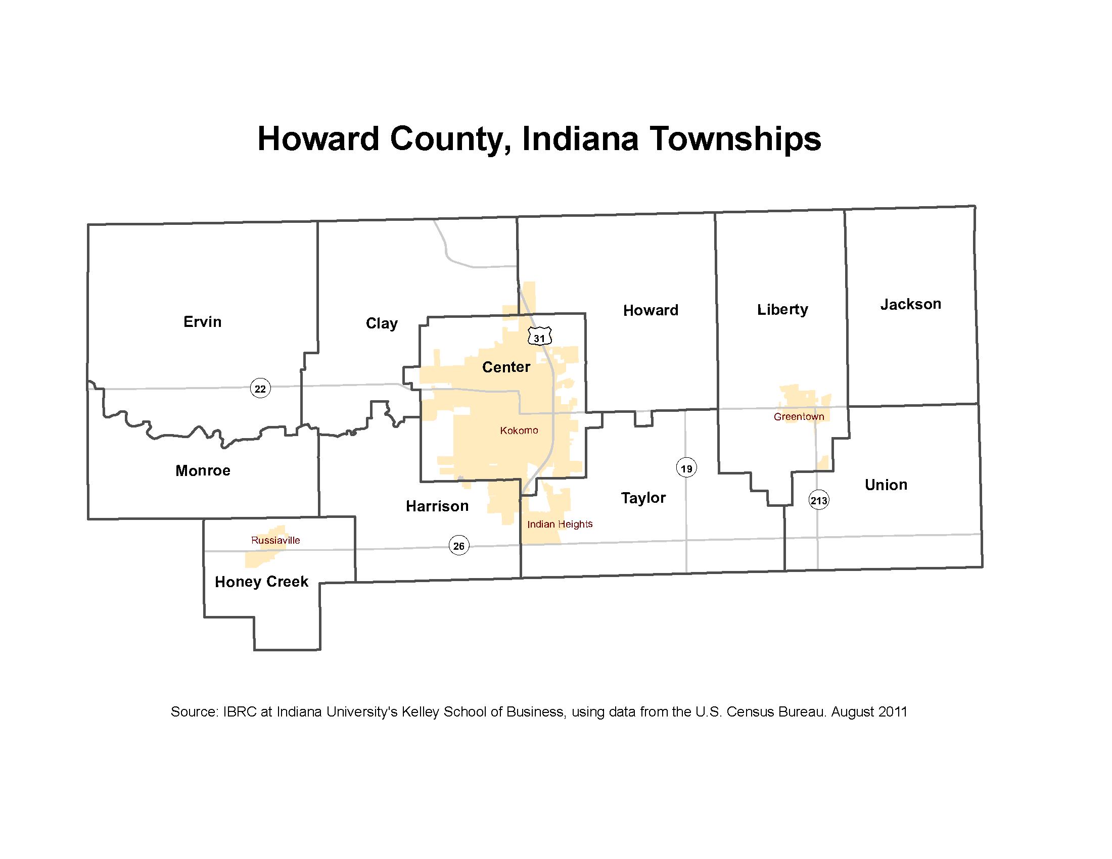 Howard County Indiana Map.Township Maps Stats Indiana