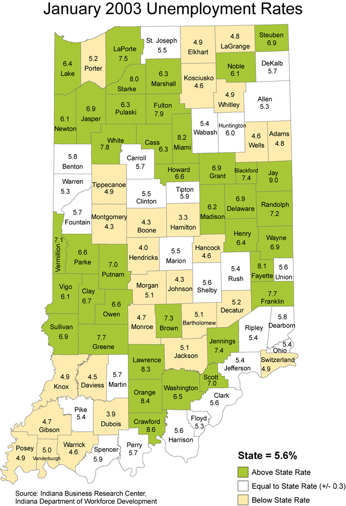 indiana laus maps unemployment rate stats maptools edu thematic 2003