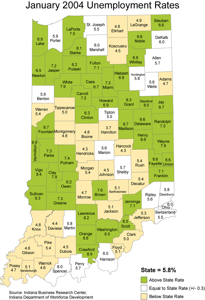 indiana unemployment rate stats maps 2004 laus