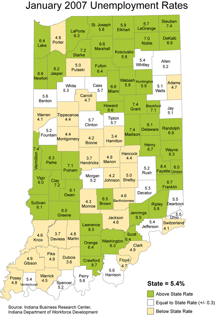 indiana unemployment rate stats maps 2007 laus