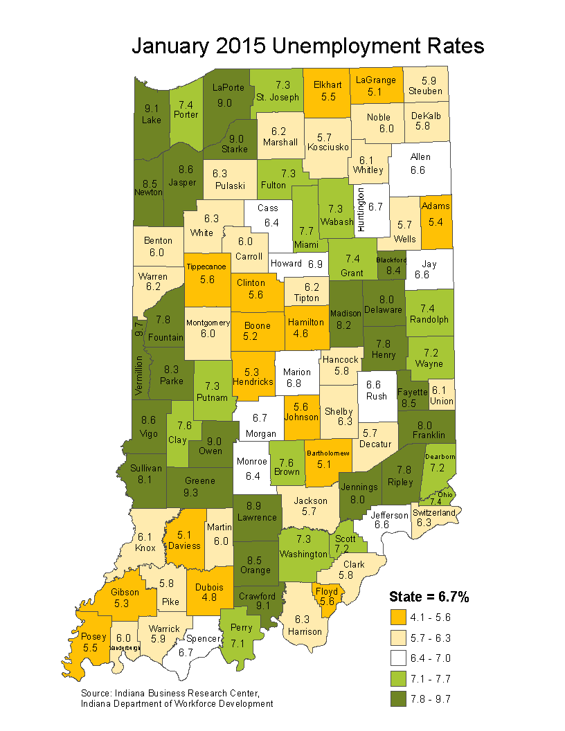 indiana unemployment rate stats maps february laus