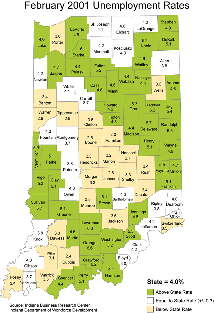indiana laus maps unemployment stats rate maptools edu thematic 2001