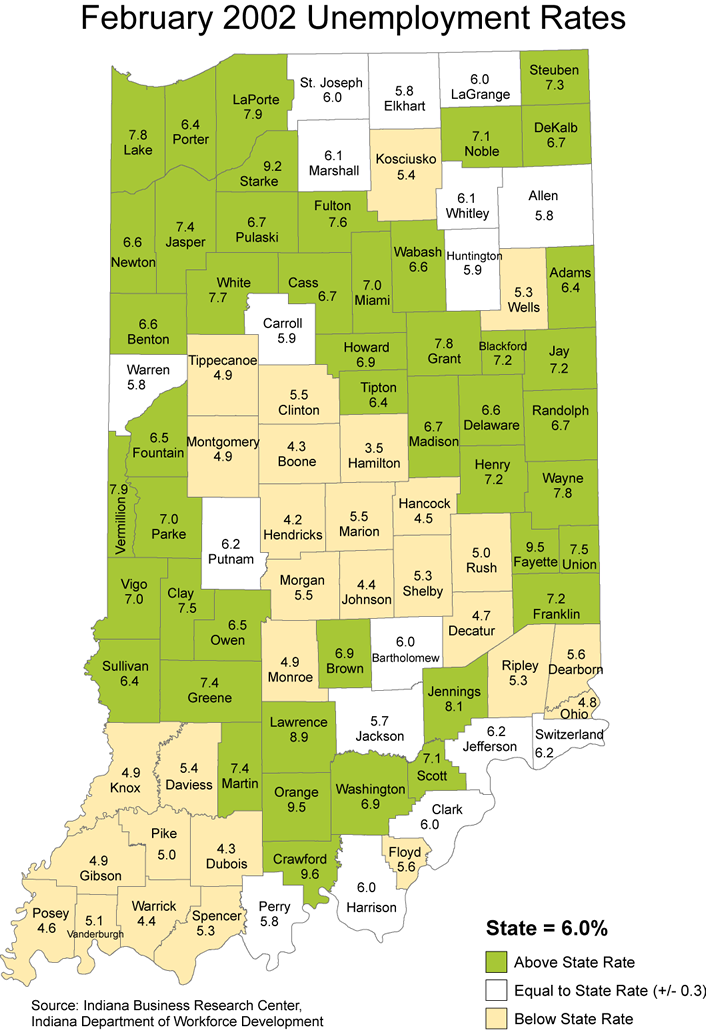 indiana 2002 unemployment rate stats maps laus
