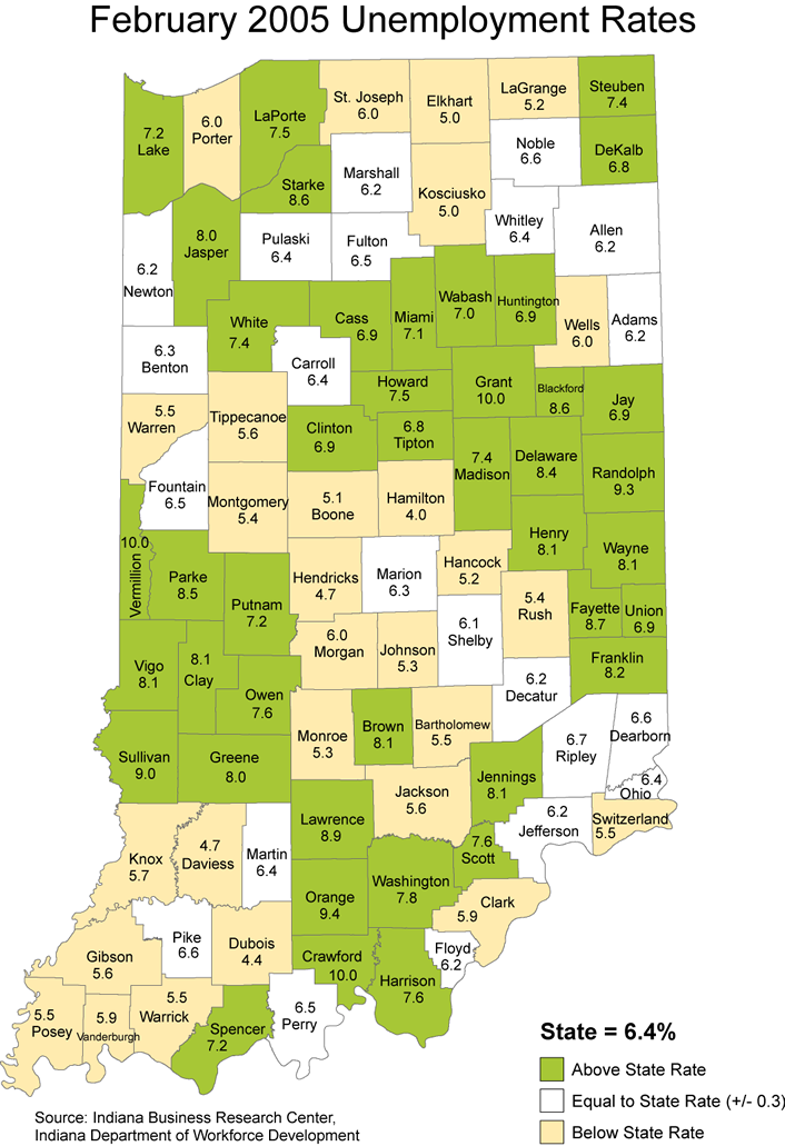 indiana laus maps unemployment stats rate maptools edu thematic 2005