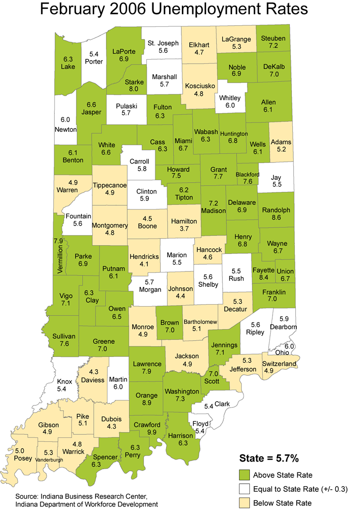 indiana unemployment stats rate maps 2006 laus