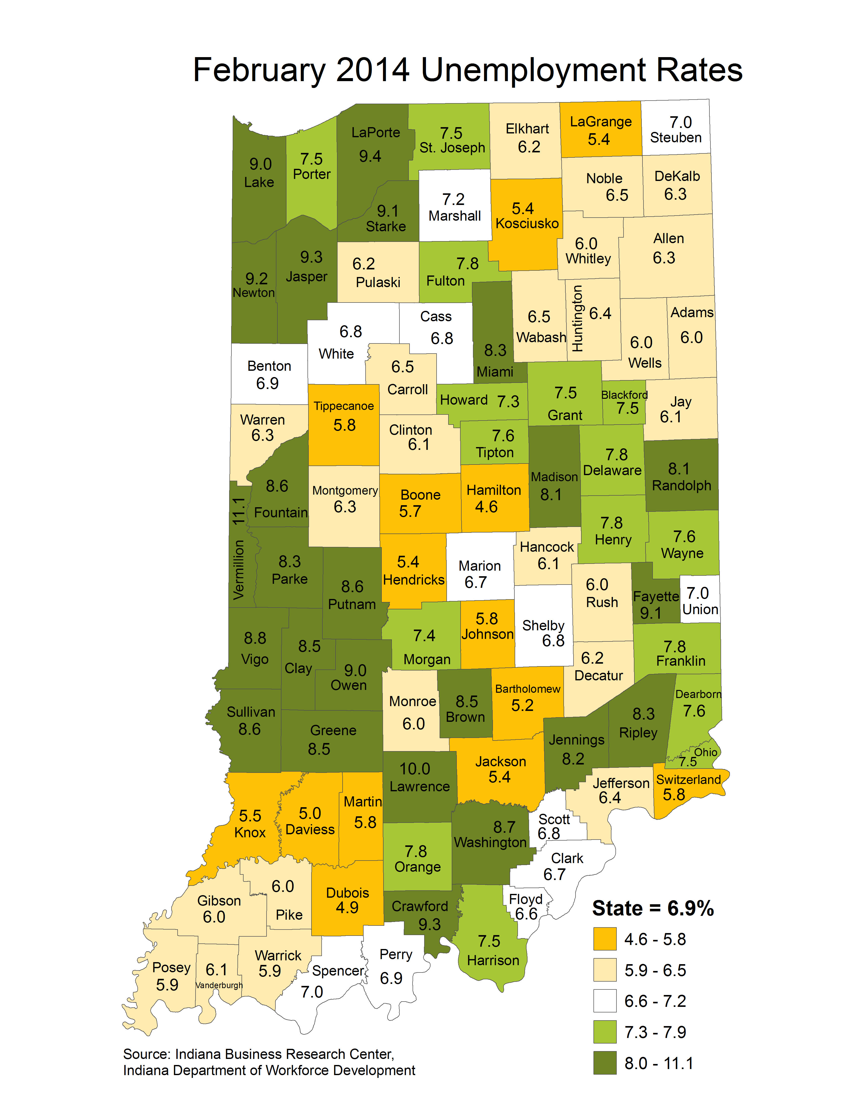 indiana unemployment rate maps stats march laus maptools