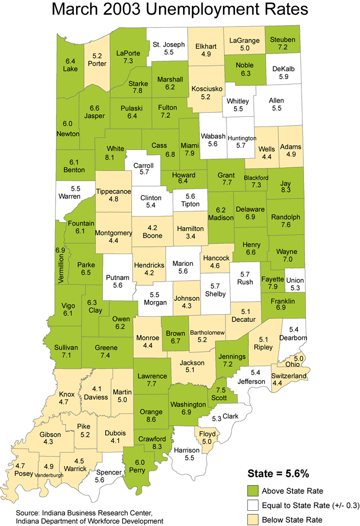 indiana unemployment rate stats maps 2003 laus