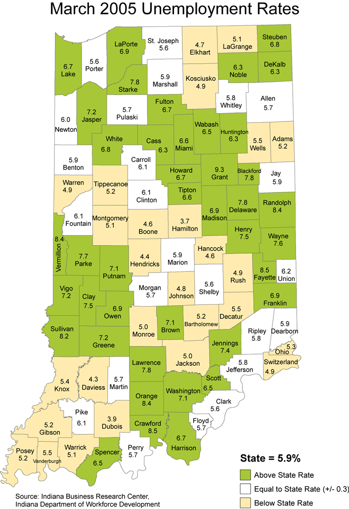 indiana unemployment rate stats maps 2005 laus