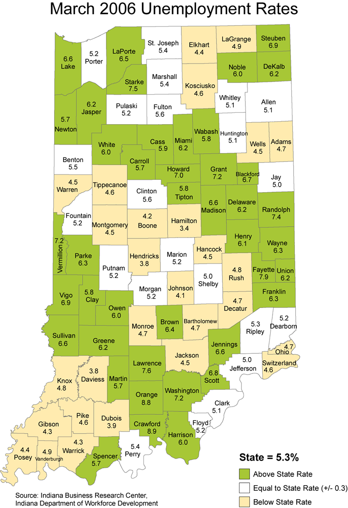 indiana unemployment rate maps 2006 stats laus