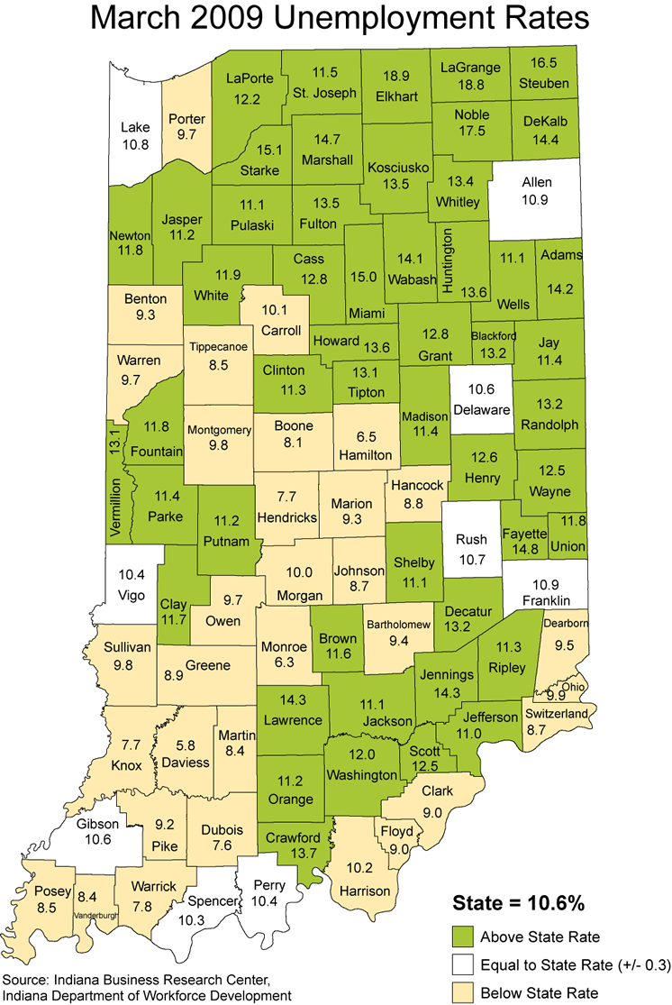 indiana laus stats maps thematic 2009 unemployment rate maptools edu