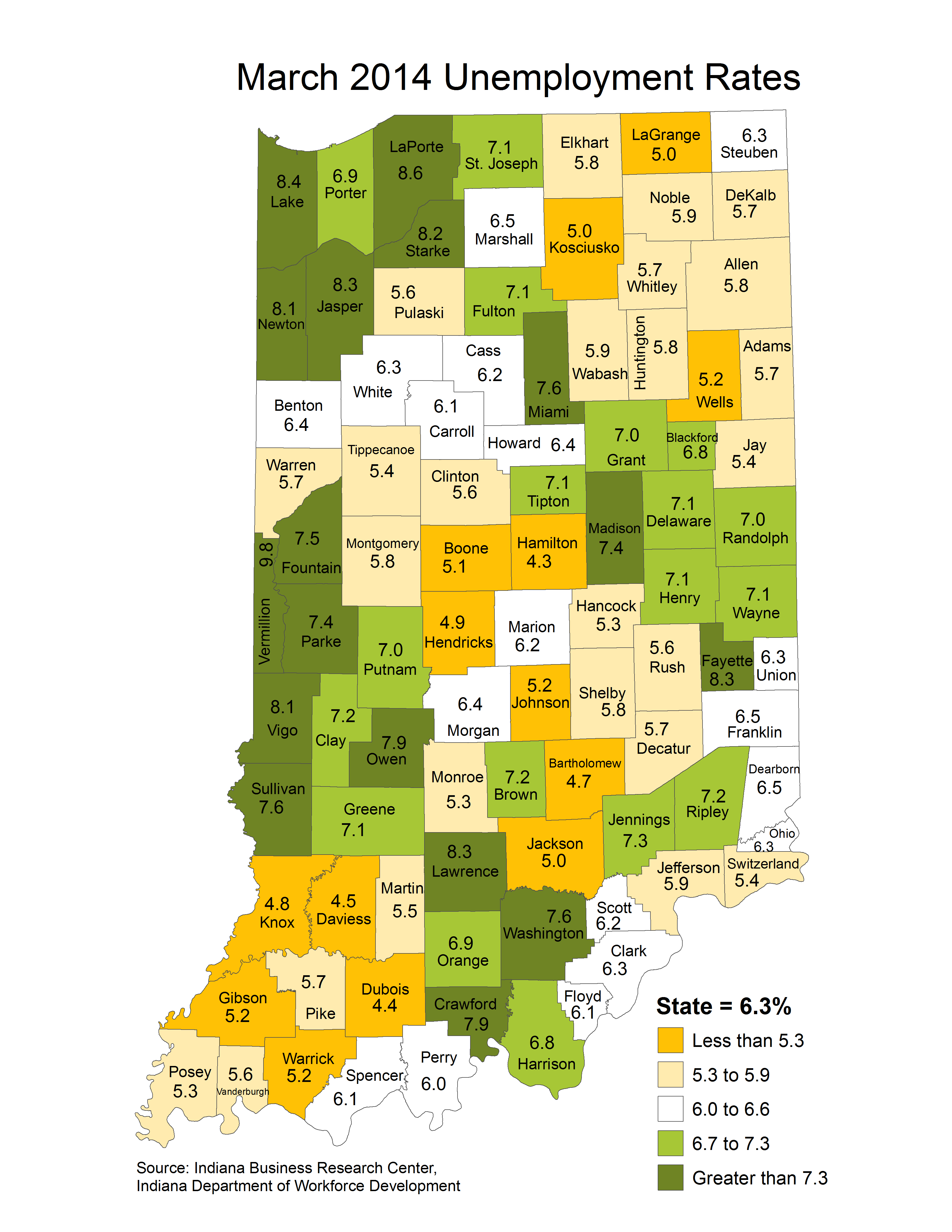 indiana laus stats maps thematic unemployment rate maptools edu april