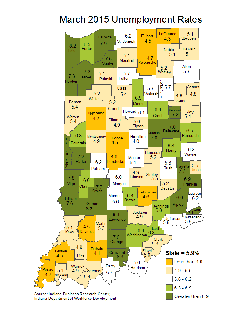 indiana laus maps unemployment stats rate maptools edu thematic april