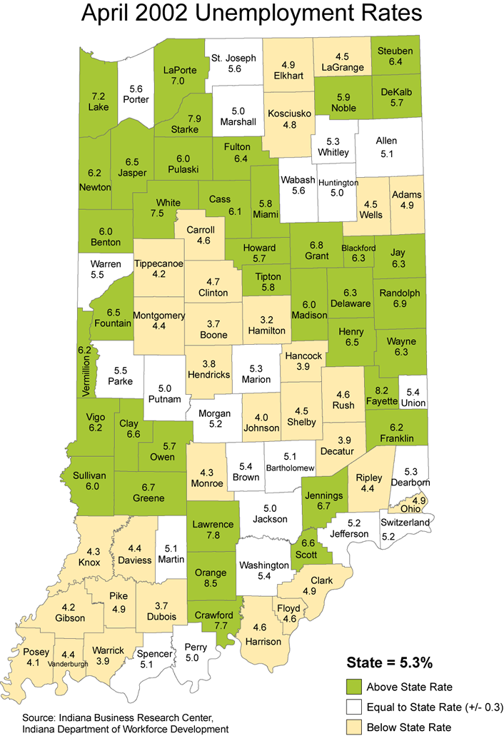 indiana unemployment rate maps 2002 stats laus