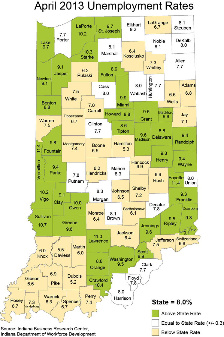 indiana stats laus maps unemployment rate maptools edu thematic