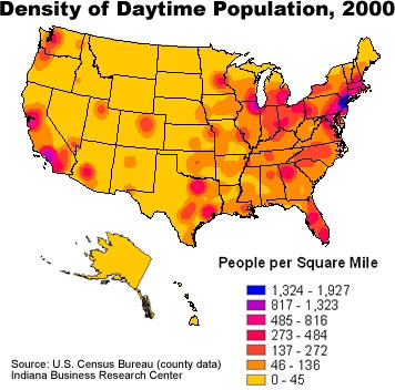 Us Population Density Map Globalinterco - Us population map 2017